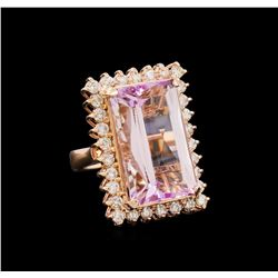 21.94 ctw Kunzite and Diamond Ring - 14KT Rose Gold