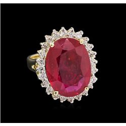 10.40 ctw Ruby and Diamond Ring - 14KT Yellow Gold