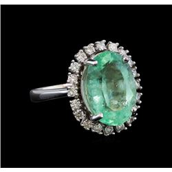 7.49 ctw Emerald and Diamond Ring - 14KT White Gold