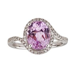 3.19 ctw Kunzite and Diamond Ring - 14KT White Gold