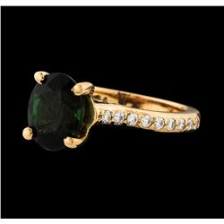 3.00 ctw Green Tourmaline and Diamond Ring - 14KT Rose Gold