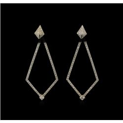 1.23 ctw Diamond Dangle Earrings - 14KT White Gold