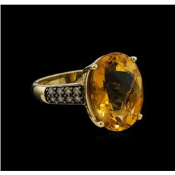8.17 ctw Citrine and Diamond Ring - 14KT Yellow Gold