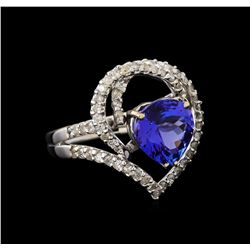 4.13 ctw Tanzanite and Diamond Ring - 18KT White Gold