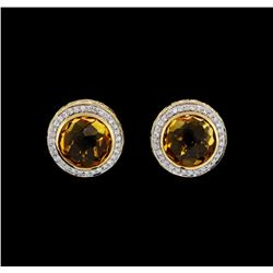 8.75 ctw Citrine and Diamond Earrings - 14KT Yellow Gold