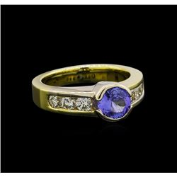 1.00 ctw Tanzanite and Diamond Ring - 18KT Yellow Gold