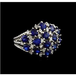 3.12 ctw Sapphire and Diamond Ring - 14KT White Gold