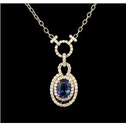 6.15 ctw Tanzanite and Diamond Necklace - 14KT Yellow Gold