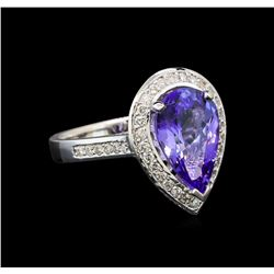 14KT White Gold 4.13 ctw Tanzanite and Diamond Ring