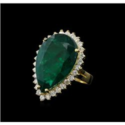 23.22 ctw Emerald and Diamond Ring - 14KT Yellow Gold
