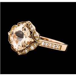 1.33 ctw Morganite and Diamond Ring - 14KT Rose Gold