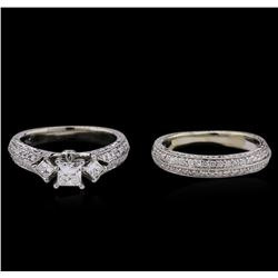1.31 ctw Diamond Wedding Ring Set - 14KT White Gold