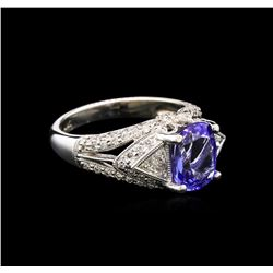 2.49 ctw Tanzanite and Diamond Ring - 18KT White Gold