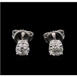 1.02 ctw Diamond Solitaire Earrings - 14KT White Gold