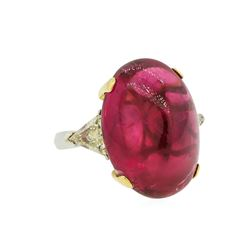 22.76 ctw Rubellite and Diamond Ring - 18KT Yellow and White Gold
