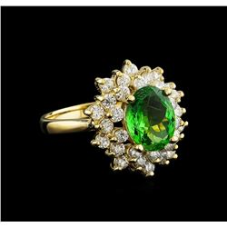 2.11 ctw Tsavorite Garnet and Diamond Ring - 14KT Yellow Gold