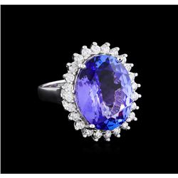 8.58 ctw Tanzanite and Diamond Ring - 14KT White Gold