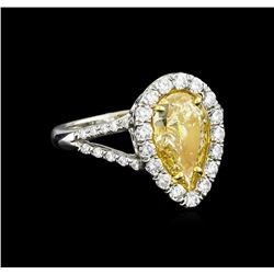 EGL USA Cert 2.72 ctw Fancy Yellow Diamond Ring - Platinum