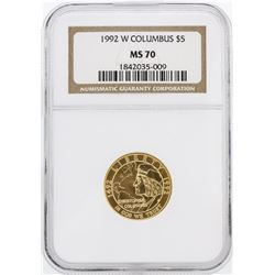 1992-W NGC MS70 $5 Columbus Gold Coin