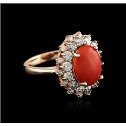14KT Rose Gold 8.88 ctw Coral and Diamond Ring