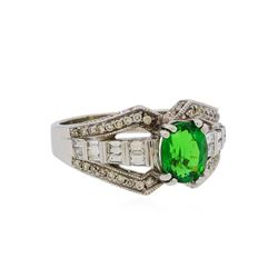 2.12 ctw Tsavorite and Diamond Ring - 14KT White Gold