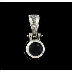 1.07 ctw Blue Sapphire and Diamond Pendant - 14KT White Gold