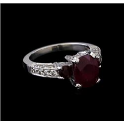 3.60 ctw Ruby and Diamond Ring - Platinum