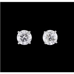 1.42 ctw Diamond Earrings - 14KT White Gold