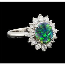 0.82 ctw Black Opal and Diamond Ring - Platinum