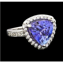 5.05 ctw Tanzanite and Diamond Ring - 14KT White Gold