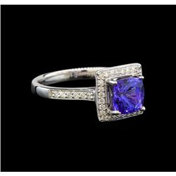 14KT White Gold 1.40 ctw Tanzanite and Diamond Ring