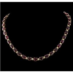 65.85 ctw Ruby and Diamond Necklace - 14KT Yellow Gold