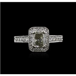 1.34 ctw Fancy Light Green Diamond Ring - 14KT White Gold