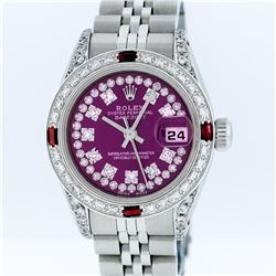 Rolex Stainless Steel Purple String Diamond VVS DateJust Ladies Watch