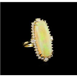 10.30 ctw Opal and Diamond Ring - 14KT Yellow Gold