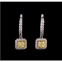 0.78 ctw Diamond Earrings - 14KT White and Yellow Gold