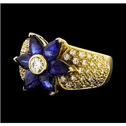2.93 ctw Sapphire and Diamond Ring - 18KT Yellow Gold