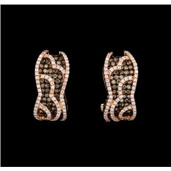 1.28 ctw Brown and White Diamond Earrings - 14KT Rose Gold