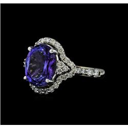 4.54 ctw Tanzanite and Diamond Ring - 14KT White Gold