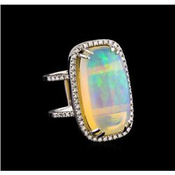 15.27 ctw Opal and Diamond Ring - 14KT White Gold
