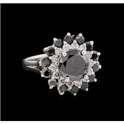 2.54 ctw Fancy Black Diamond Ring - 14KT White Gold