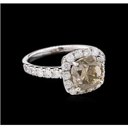 GIA Cert 4.01 ctw Fancy Yellow Brown Diamond Ring - 18KT White Gold