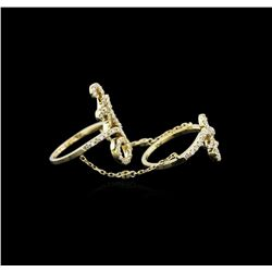 0.84 ctw Diamond Knuckle Ring - 14KT Yellow Gold