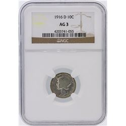 RARE 1916-D Mercury Dime NGC Graded AG3