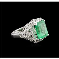 5.87 ctw Emerald and Diamond Ring - 14KT White Gold