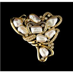 Pearl and Diamond Pin Pendant - 14KT Yellow Gold