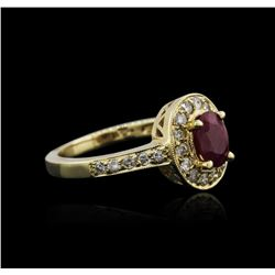 14KT Yellow Gold 0.93 ctw Ruby and Diamond Ring