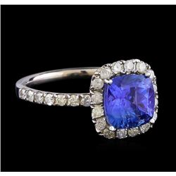 1.81 ctw Tanzanite and Diamond Ring - 14KT White Gold