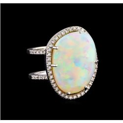 13.67 ctw Opal and Diamond Ring - 14KT White Gold