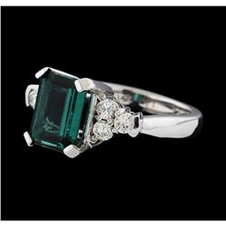 2.29 ctw Tourmaline and Diamond Ring - 14KT White Gold